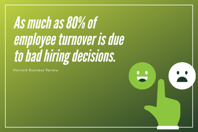 As much as 80% of employee turnover is due to bad hiring decisions - Harvard Business Review